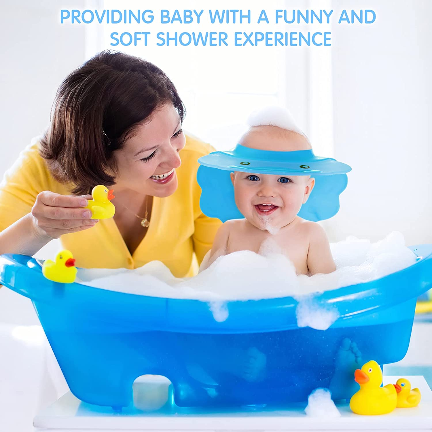 2 Pieces Baby Shower Cap Visor with Ear Protection Waterproof Shampoo Shower Cap Adjustable Silicone Shampoo Bath Hat for Infants Toddlers Kids Children (Blue)
