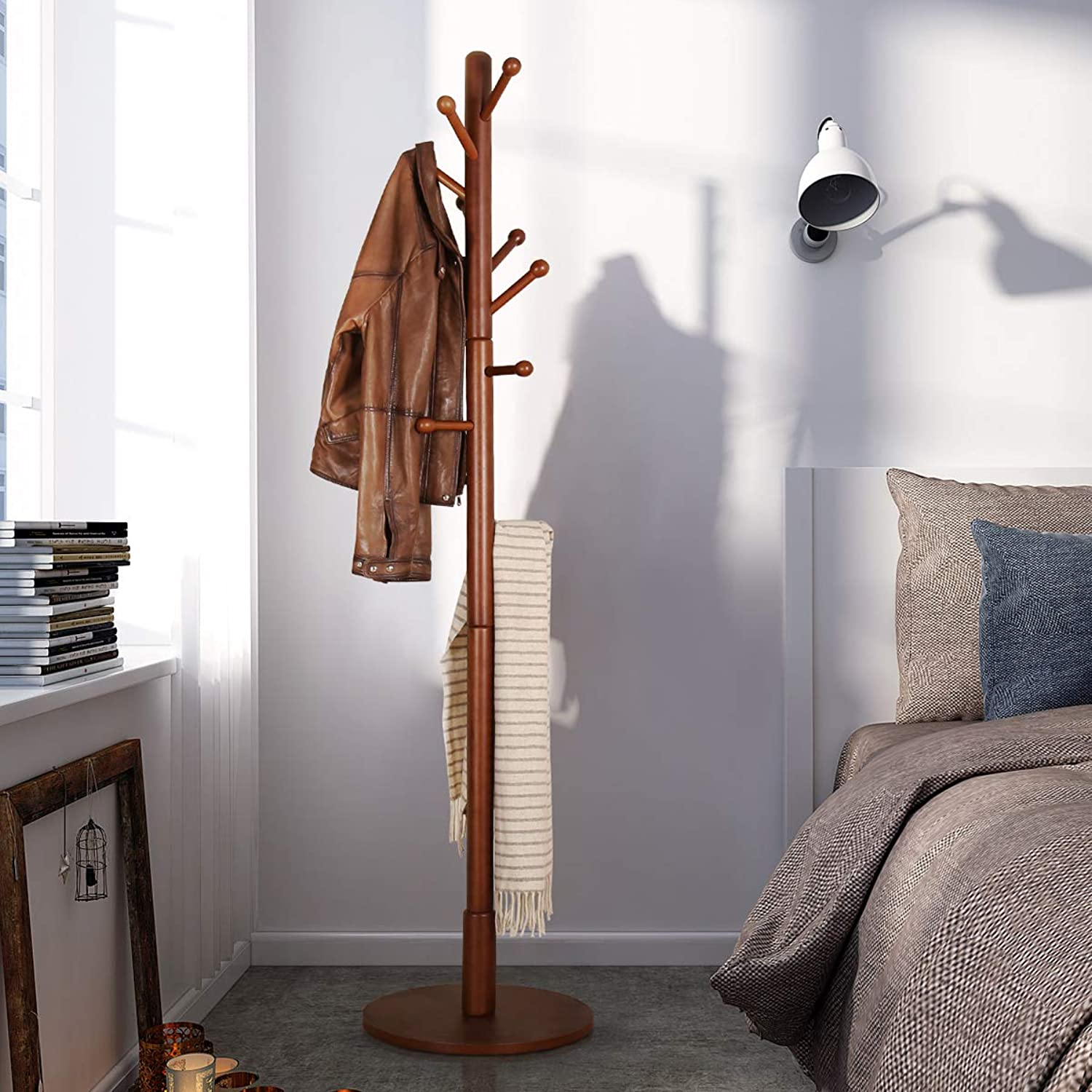 Vlush Sturdy Wooden Coat Rack Stand, Entryway Hall Tree Coat Tree with Solid Round Base for Hat,Clothes,Purse,Scarves,Handbags,Umbrella-Brown (Brown2)