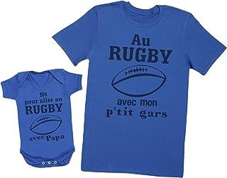 6da4c8146390b Né pour aller au rugby avec papa - Ensemble Père Bébé Cadeau - Hommes T-