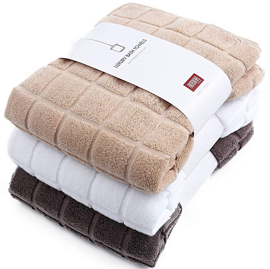 比率修道院未使用AKASKARI バスタオル 吸水 3色3枚セット 綿100% 60cm×130cm(ホワイト+べージュ+ブラウン)