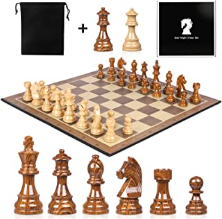High Polymer Weighted Chess Pieces 3.75 Inch King Figures Chess Games Standard Competition Chess Pieces with Extra 2 Queen...