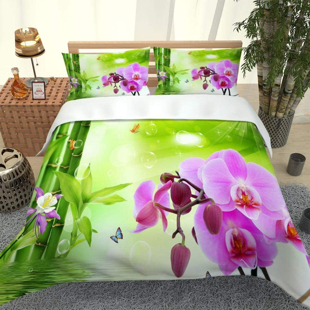 XKSJWY 3D Easy-to-use Blue In a popularity Butterfly Flower Printed Ki Duvet Size Cover Twin