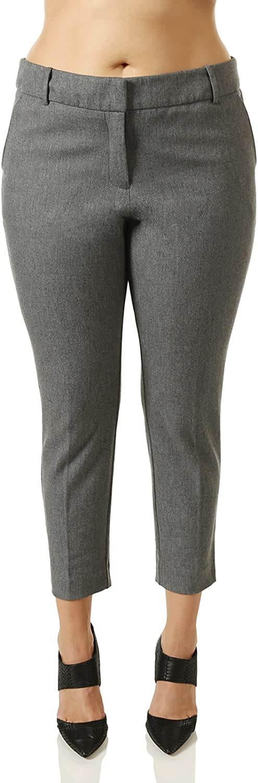 7 Encounter Women's Plus Size Tweed Grey Ankle Pants