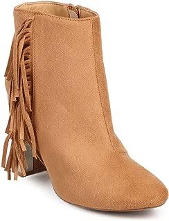 Women Suede Almond Toe Vertical Fringe Metallic Block Heel Bootie DG31 - Toffee