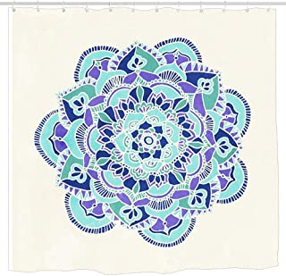 KOiomho Royal Blue Teal Mint & Purple Mandala Flower Shower Curtain, Details Artistic Picture, Cloth Fabric Bathroom Decor Set with Hooks 6072 inch