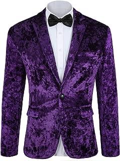 MAGE MALE Men's Velvet Blazer Slim Business Suit Jacket One Button Party Sport Coat