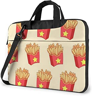 Water Resistant Laptop Shoulder Messenger Bag, French Fries Protective Notebook Messenger Briefcase Compatible with MacBook 13 Inch