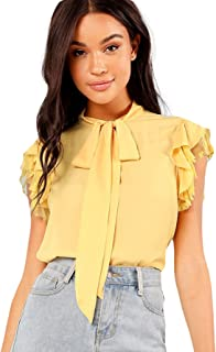 Verdusa Women's Tie Neck Embroidered Contrast Mesh Ruffle Blouse Top
