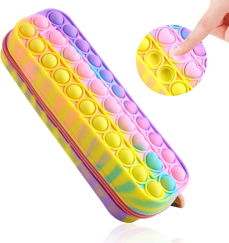 LADVCORP Pop Pencil Case Fidget Toy, Box for Girls Small, Rainbow