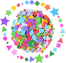Olgaa 1300 Pieces Foam Stickers Geometry Self-Adhesive Stickers Assorted Colors Mini Geometry Shapes Foam Stickers (Circle...
