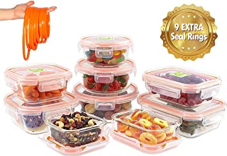 JinaMart Glass Food Storage Containers with Lids | 9 Glass Container Set + 9 Extra Rings| Leakproof and Airtight Glass Meal Prep Soup Bowl Set| BPA Free & FDA Approved