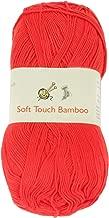 BambooMN Yarn - 2 Skeins - Soft Touch Bamboo Rayon/Acrylic Yarns - Solids 100g Balls - 13 Tangelo
