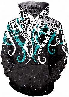 Dawery Unisex 3D Printed Hoodies Pullover Hooded Sweatshirt Cool Sweatshirt Hoodies Men Women 3D Print Funny Octopus Tentacles Streetwear Long Sleeve Clothing