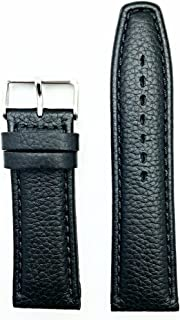 26mm Black Genuine Leather Watch Band | Matte Shrunken Grained, Medium Padded Replacement Wrist Strap with Thick Threads That Brings New Life to Any Watch (Mens Standard Length)