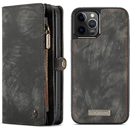 Wallet Case w//Magnetic Detachable Cover Black-Dark Grey Clutch Wallet w//Wristlets Money Pocket Compatible with iPhone 12//12 Pro 6.1 inch 2020 11 Card Slots SWP Case for iPhone 12//12 Pro 5G