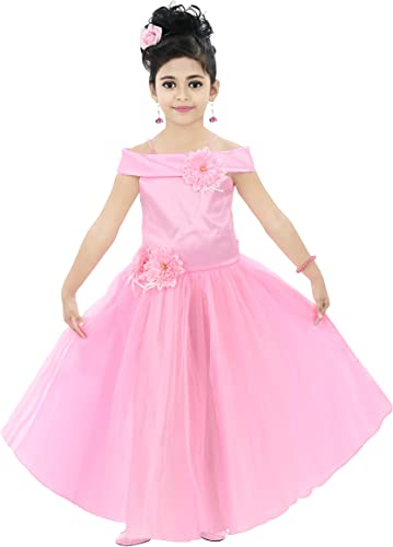 Kids Floral Appliqu Festive Gown Dress for Girls