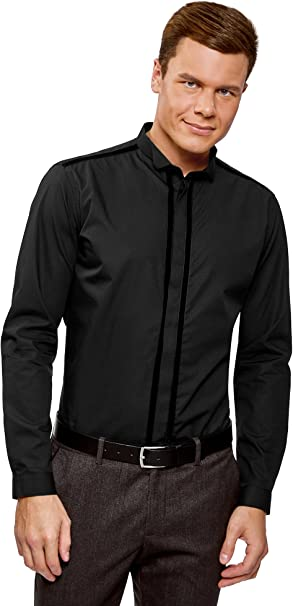 oodji Ultra Hombre Camisa con Cuello Mao y Detalles Decorativos