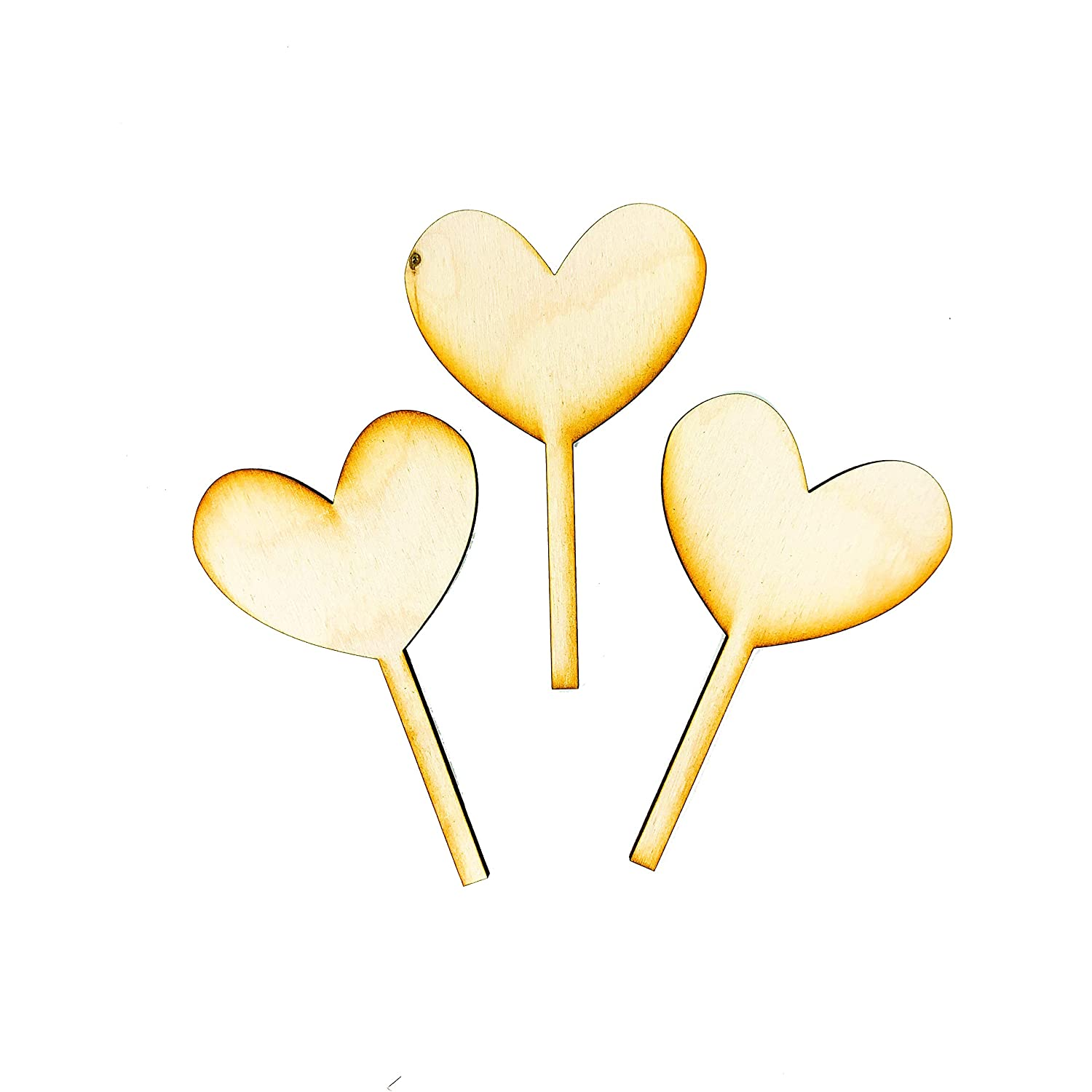 Wooden Heart latest Cupcake Denver Mall Toppers 3 Set of