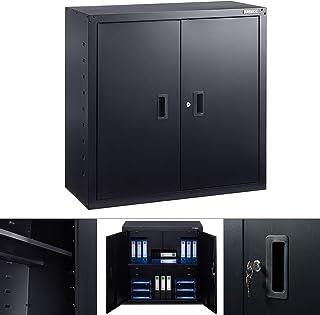 Arebos Armoire de Bureau | Noir | 90 x 40 x 90 cm | 2 Portes | Tablette réglable en Hauteur | avec Serrure à Cylindre