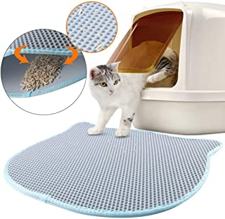 Green House Large Cat Litter Mat Litter Trapping Double Layer 27x23 Inch, Kitty Shape Waterproof Anti Slip Honeycomb 2 Layer Pad Cat Litter Recycling