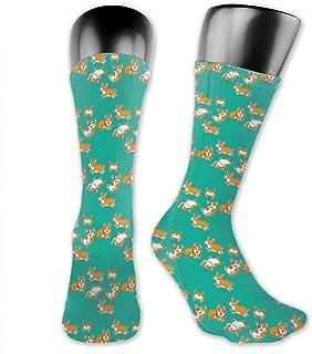 N/W, Calcetines atléticos de media caña para hombres, mujeres, niños, adolescentes, absorben la humedad, resistentes al olor (lindos perros corgi mascotas), color verde