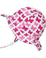 幼児用 50+ UPF 日光予防帽子 Sun hat、 サイズの調整可能、チン・ストラップ付き(M: 6-36ヶ月, ピンクの蝶)