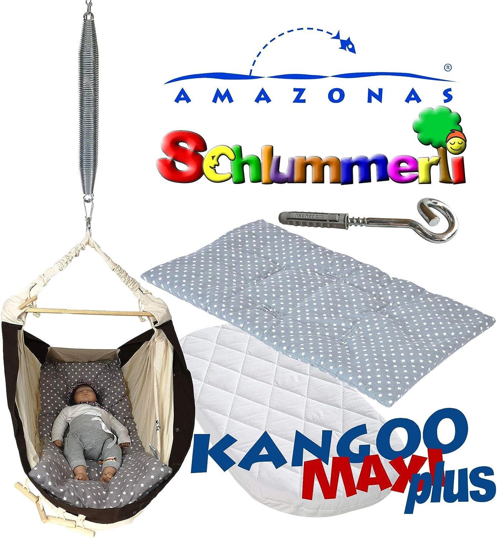Federwiege Amazonas Kangoo MAXI plus Babyhngematte + Matratze + Inlay Sunny grau + Schlummerli-Feder + Deckenhaken
