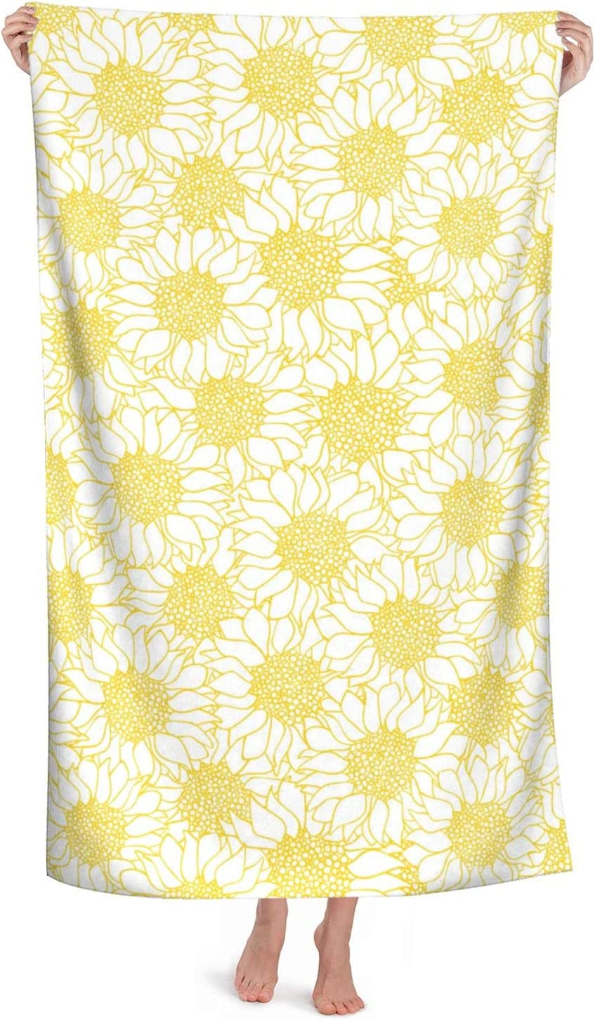 Bath Towel Sunflower Yellow Online limited product Summer Bright Max 50% OFF Floral So Towels Beach
