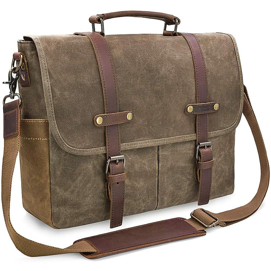 Mens Messenger Bag 15.6 Inch Waterproof Vintage Genuine Leather Waxed Canvas Briefcase Large Satchel Shoulder Bag Rugged Leather Computer Laptop Bag, Khaki