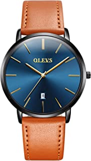 Mens Watch - Ultra Thin Fashionable Minimalist - Stainless Steel Bezel Buckle - Breathable Leather Strap - Casual Japanese Quartz Watches for Men