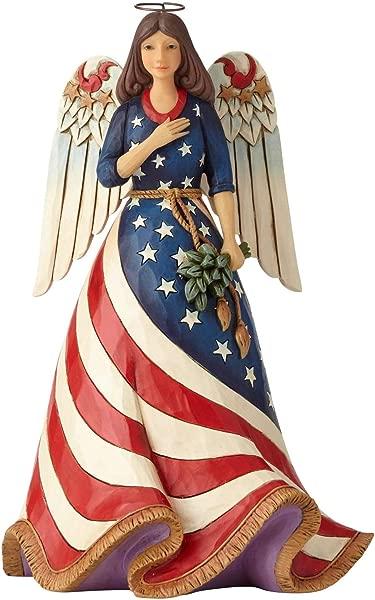 Enesco Jim Shore Heartwood Creek Patriotic Angel With Flag Dress Figurine 9 8 Multicolor