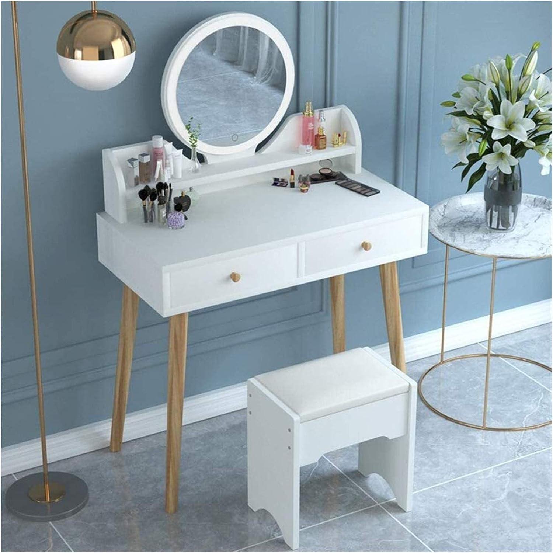 ZHZH Exquisite Dressing Table Vanity with Atlanta Mall Mirror Round Set Phoenix Mall