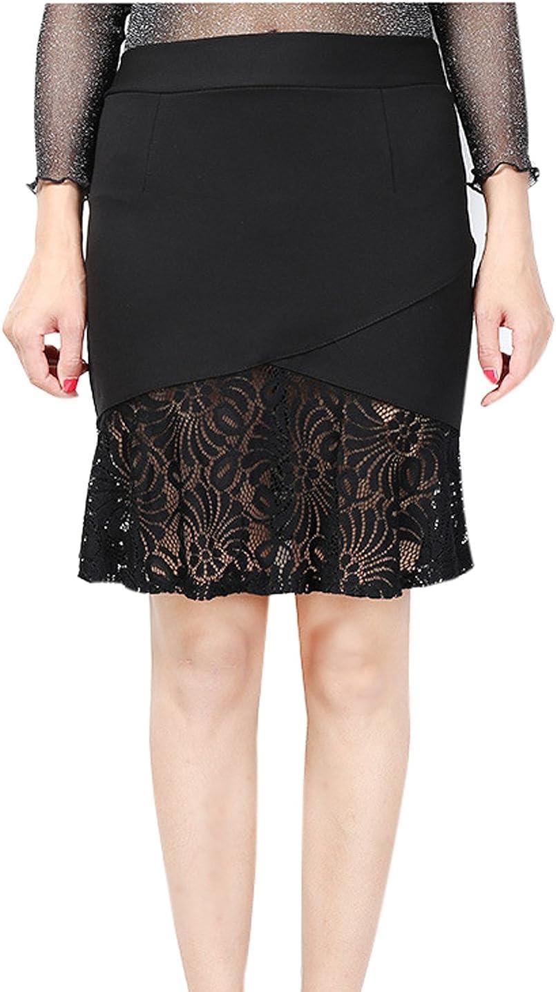 Gihuo Womens Elegant High Waist Slim Lace Work Mermaid Bodycon Pencil Midi Skirt