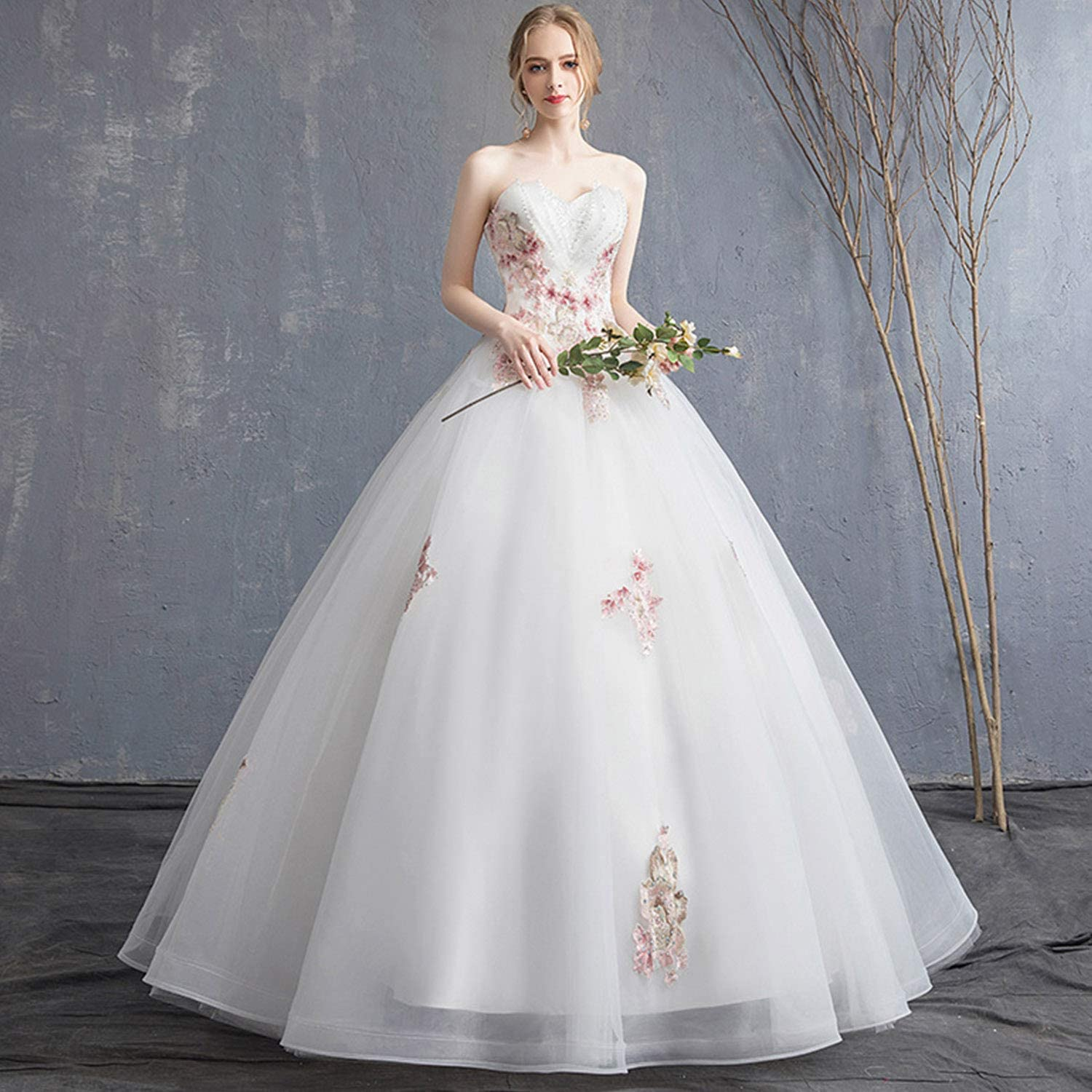 Elegant Bridal Wedding Dresses Slim High Waist Backless Floor Length Dresses with Lace Appliques Beads for Ceremony Evening Party Use