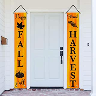AVOIN Happy Fall Y'all Blessed Harvest Porch Sign Pumpkin Maple Leaf, Autumn Vintage Harvest Thanksgiving Hanging Banner Flag for Yard Indoor Outdoor Party 12 x 72 Inch
