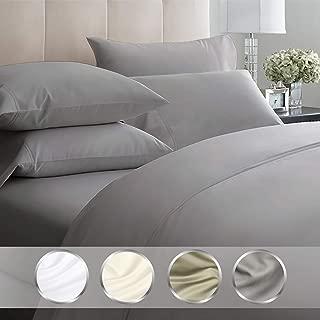California Design Den Luxury Bedding Set Queen Size - Dark Grey 4 Piece Sheet Set, Egyptian Quality 1000 Thread Count, 100% Pure Cotton Sateen Weave, Deep Pocket Fits Mattress Upto 18 Inches