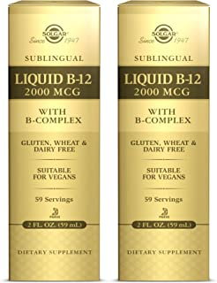Solgar Sublingual Liquid B-12 2000 mcg with B-Complex, Supports Energy, Red Blood Cells - Healthy Nervous System & Heart H...