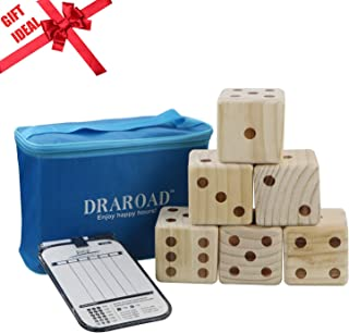 DRAROAD Giant Wooden Yard Dice Outdoor Game with Bonus Yardzee and Farkle Scoresheets and Carrying Bag for All Ages,Great Lawn and Family Game