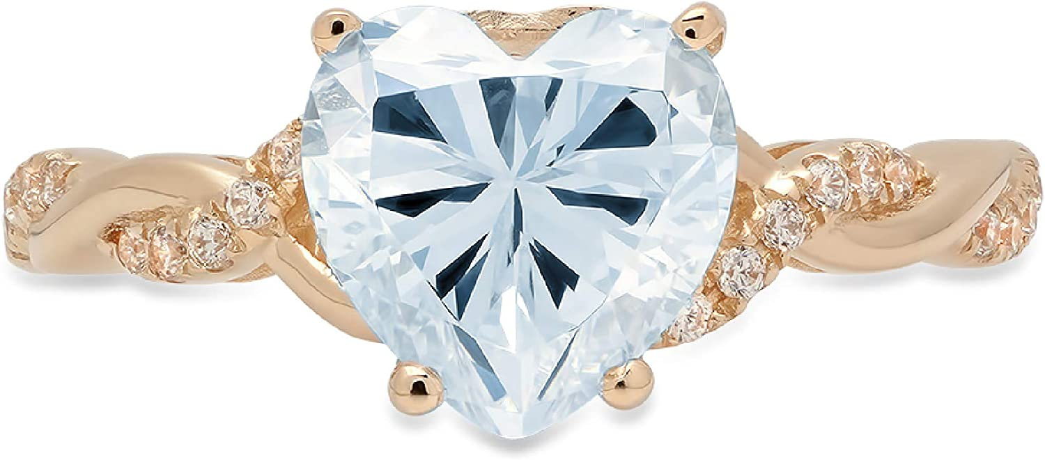 2.19ct Heart Cut Criss Cross Twisted Solitaire Accent Halo Natural Topaz Gem Stone Ideal VVS1 Engagement Promise Anniversary Bridal Wedding Ring 14k Yellow Gold