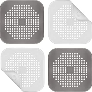 4 Pieces Shower Drain Hair Catcher with Suction Cups Square Drain Cover Hair Catcher Stopper Filter Anti-clogging of Kitch...