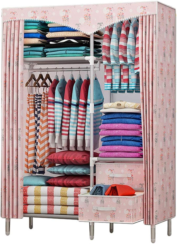 Simple wardrobe Simple wardrobe Steel Pipe 170  110  45cm Storage Wardrobe dustproof Wardrobe (color   A)