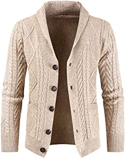 Superora Men's Cardigan Sweater Jumper Coats Knitted Thick Warm Casual Slim with Pockets