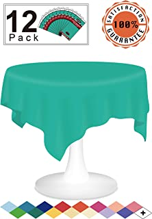 Teal Plastic Tablecloths Disposable Table Covers 12 Pack Premium 84 Inches Round Table Cloths for Round Tables up to 6 Feet and for Picnic BBQ Birthdays Weddings any Events Occasions, PEVA Material