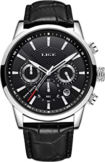 LIGE Men's Watches Leather Chronograph Waterproof Analog Quartz Stainless Steel Business Design Date Watches for Men Black...
