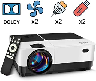 Wsky Video Portable Projector Outdoor Home Theater, LED LCD HD 1080p Supported with Dual Speakers, Compatible DVD, Phone, Laptop, HDMI, TV, PS4, PC (Black and White)