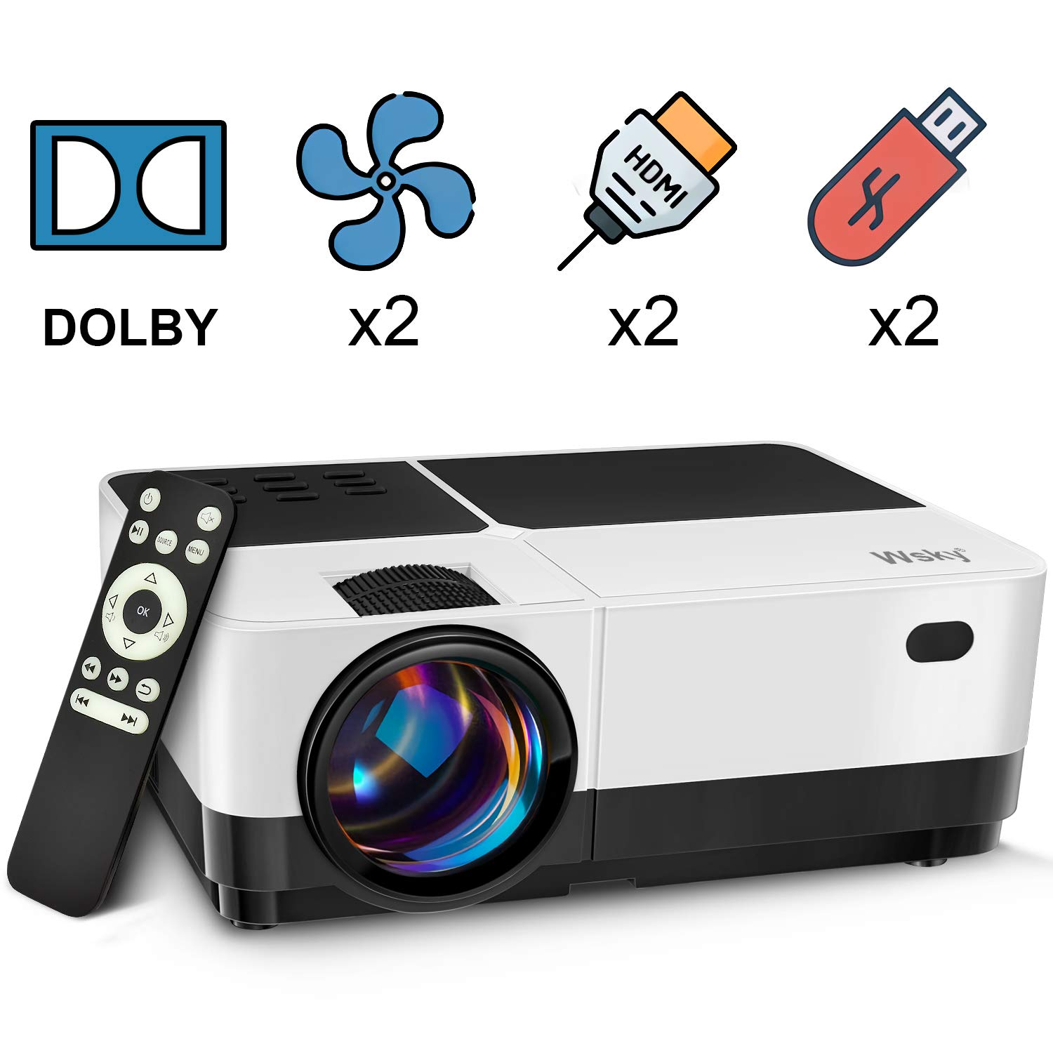Wsky Portable Theater Projector Compatible