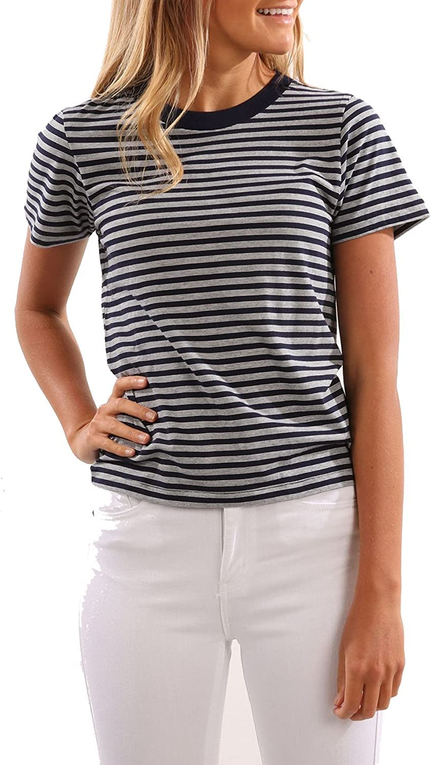 Blooming Jelly Women's Round Neck Casual Loose Short Sleeve Striped T Shirt Top