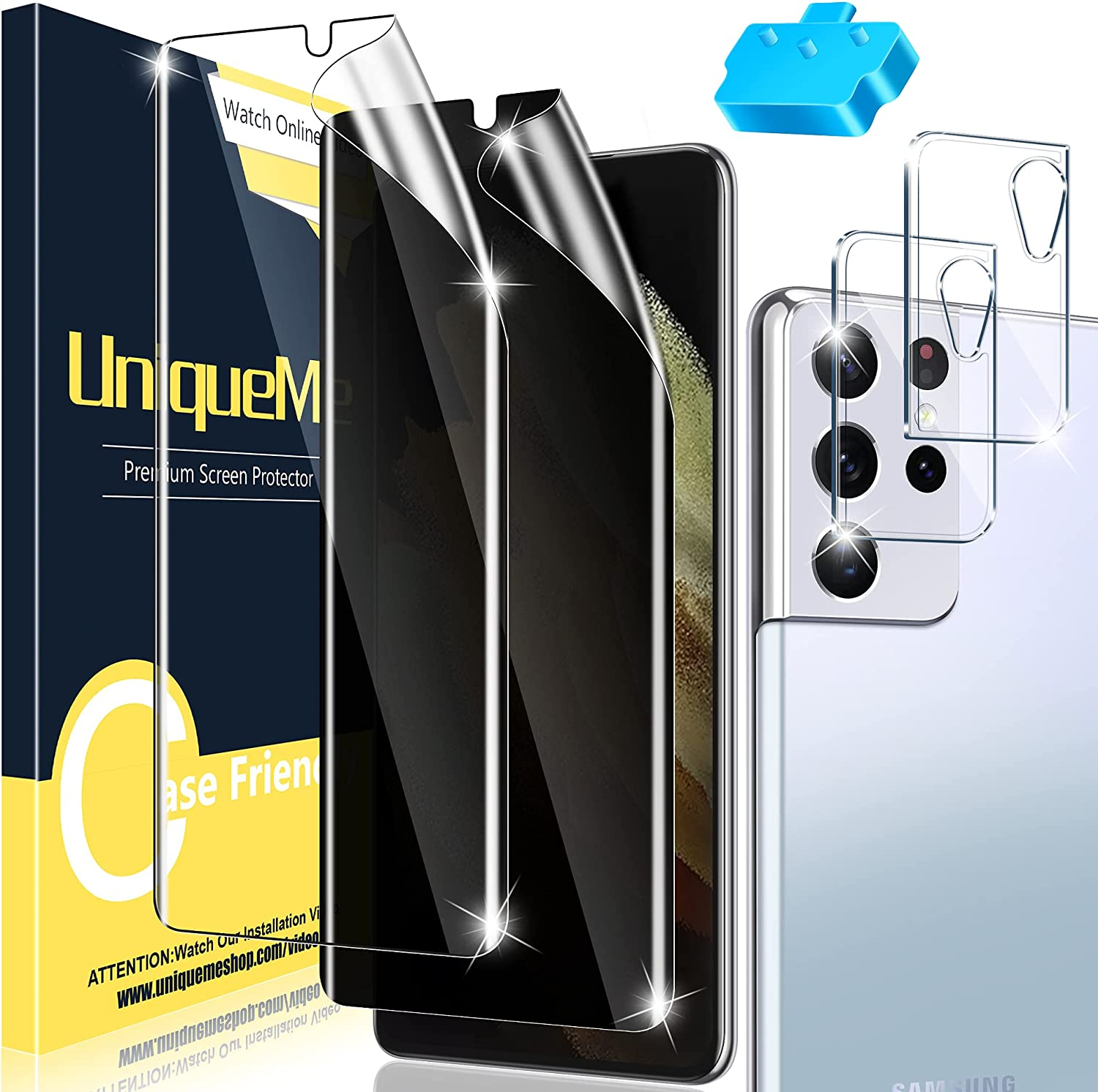 [1+1+2 Pack ] UniqueMe Compatible with Samsung Galaxy S21 Ultra 6.9 inch Soft TPU Clear Screen Protector +Soft TPU Privacy Screen Protector+Camera Protector 【Not Glass】 with Installation Tool.
