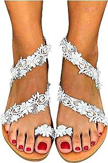 2021 Sandales femme Doux Fleur chic perle Plage à Bout Ouvert Tongs été Femmes Plage confortable Sandales Plates Meilleur ...
