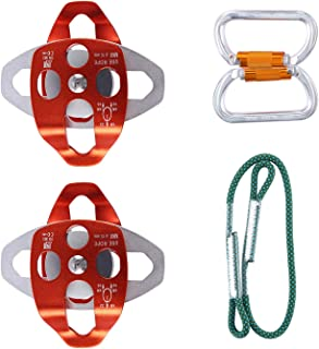 Yaegoo Twin Sheave Block and Tackle Belay Rigging System Hardware Kit for 5:1 Mechanical Advantage Pulley/Hauling/Dragging System